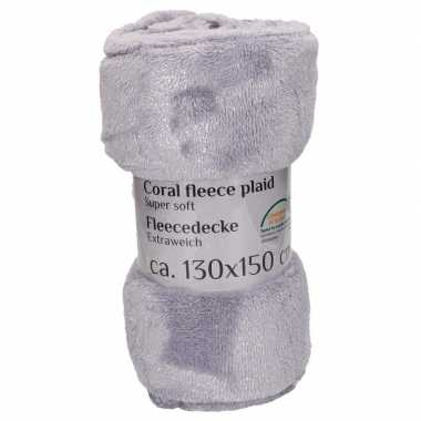 Grijze fleece deken 130 x 150 cm