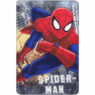 Grijze spiderman fleece deken voor jongens
