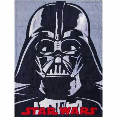 Grijze star wars fleece deken voor jongens