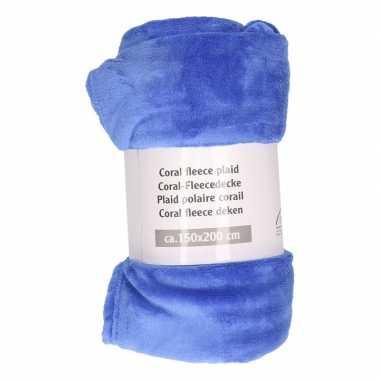Indigo blauwe fleece deken 150 x 200 cm