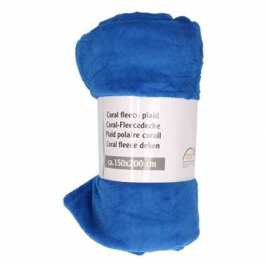 Kobalt blauwe fleece deken 150 x 200 cm