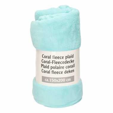 Licht turquoise fleece deken 150 x 200 cm
