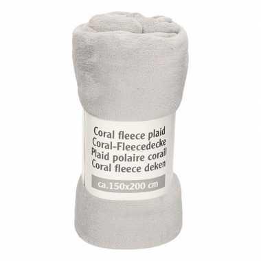 Middengrijze fleece deken 150 x 200 cm