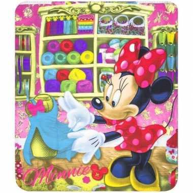 Minnie mouse winkeltje fleece deken voor meisjes