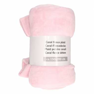 Mist roze fleece deken 150 x 200 cm