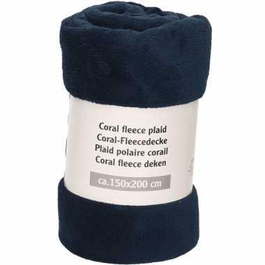 Nacht blauwe fleece deken 150 x 200 cm