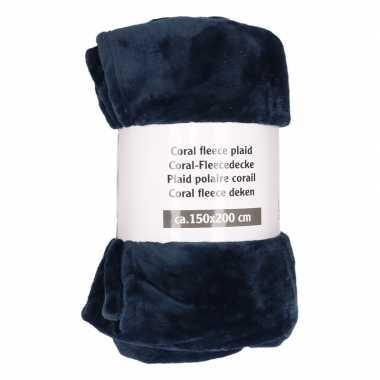 Navy fleece deken 150 x 200 cm