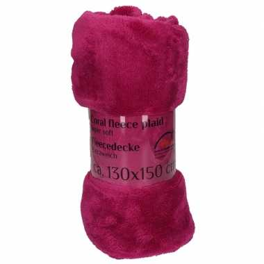 Paarse fleece deken 130 x 150 cm