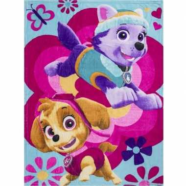 Paw patrol skye en everest fleece deken/plaid voor meisjes