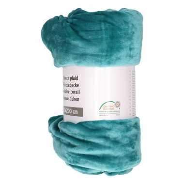 Petrol groene fleece deken 150 x 200 cm