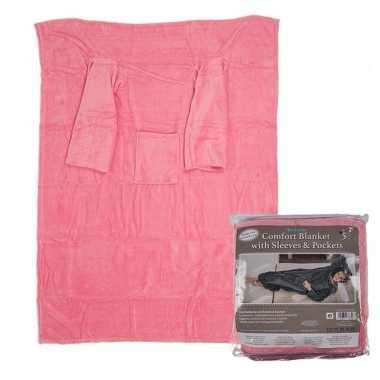 Roze fleece deken met mouwen 135 x 172 cm