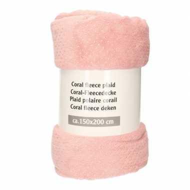 Roze met zilveren stippen fleece deken 150 x 200 cm