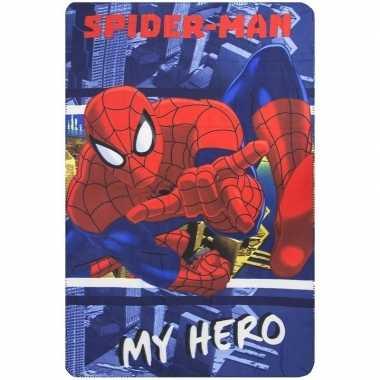 Spiderman fleece deken/plaid blauw/rood voor jongens