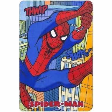 Spiderman fleece deken/plaid multikleur voor jongens