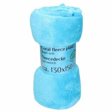 Turquoise fleece deken 130 x 150 cm
