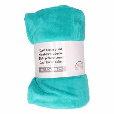 Turquoise fleece deken 150 x 200 cm