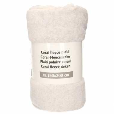 Zilver grijs gemeleerd fleece deken 150 x 200 cm