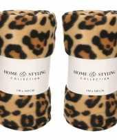 2x fleece dekens luipaard panter print 130 x 160 cm 10219014