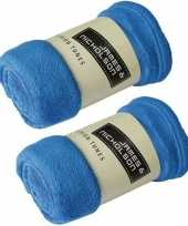 2x fleece dekens plaids kobaltblauw 120 x 160 cm