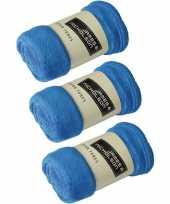 3x fleece dekens plaids kobaltblauw 120 x 160 cm