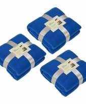3x fleece dekens plaids kobaltblauw 130 x 170 cm