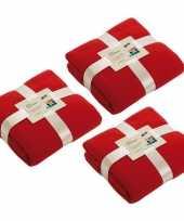 3x fleece dekens plaids rood 130 x 170 cm