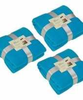 3x fleece dekens plaids turquoise 130 x 170 cm