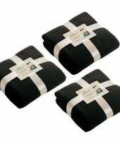 3x fleece dekens plaids zwart 130 x 170 cm