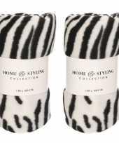 8x fleece dekens zebra print 130 x 160 cm
