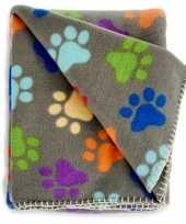 Fleece deken voor huisdieren met pootafdrukken print 125 x 157 cm gekleurd